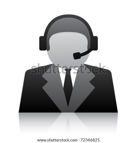 vector telephone user support icon - stock vector