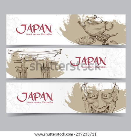 Vector template banners. Hand drawn illustrations of Japan. abstract background. - stock vector