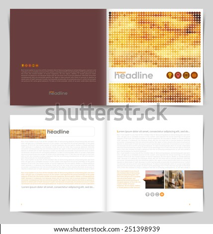Vector template booklet design - cover and inside pages - stock vector