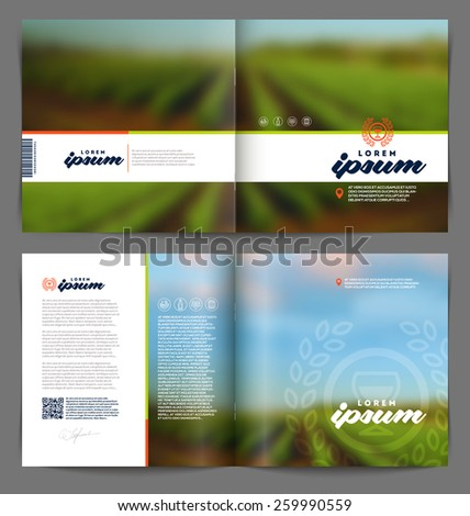 Vector template booklet page design - Wine and winemaking - stock vector