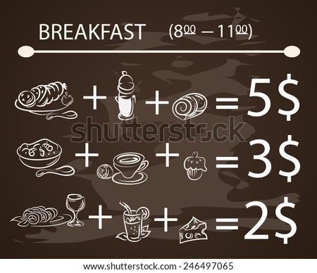 Vector template Breakfast chalkboard menu Vintage Poster (vector set) - stock vector