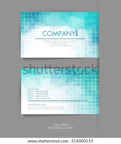 Vector template business card with blue geometric background - stock vector