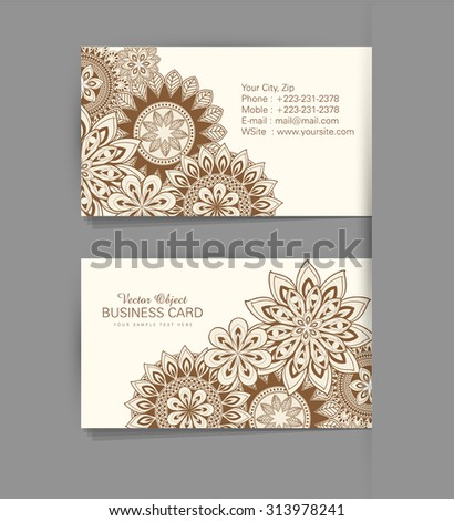 Vector template business card with the ethnic pattern of flowers - stock vector