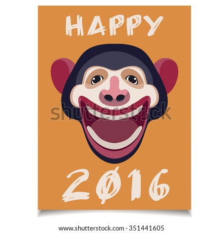 Vector template card. New Year Greeting Card with Smiling Monkey Head. - stock vector