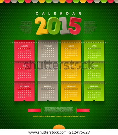Vector template design - calendar of 2015 - stock vector