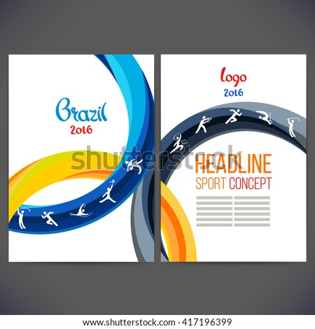 Vector template design strips of colored rings and waves.Concept sport brochure, Web sites,page,leaflet, logo Brazil 2016 and text separately.Sport concept banners with sport symbols  - stock vector