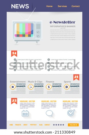 Vector Template e-Newsletter Flat Design - stock vector