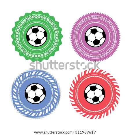 vector template football label set