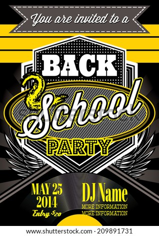 vector template  for a retro party, back to school - stock vector