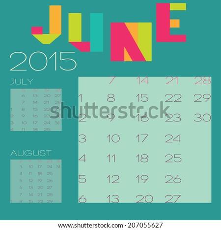 Vector Template 2015 Calendar Design June Stock Vector 207055627