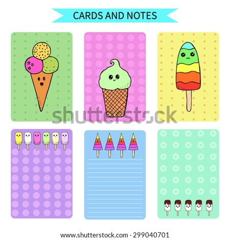 vector template for cards and notes with hand drawn kawaii ice cream