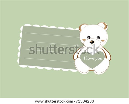 vector template for childish card with teddy-bear toy