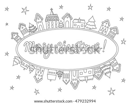 Vector Template Coloring Pages Christmas Cards Stock Vector