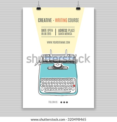 Vector template for creating writing course advertising.Vintage printing illustration  with retro typewriter. - stock vector
