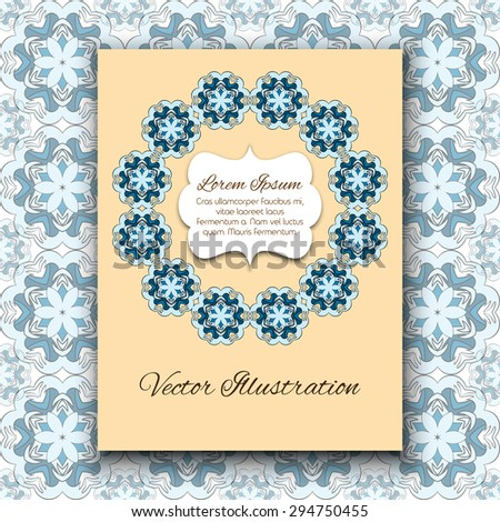 Vector template for design invitations, wedding and greeting cards. Hand drawn elements of vintage patterns.  - stock vector