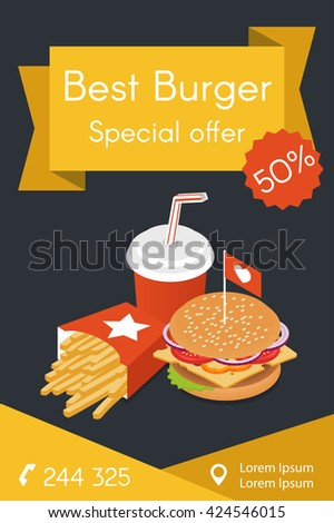 Vector template for flyer or advertisement. Vector illustration of isometric food: burger, French fries and cola. Fast food concept. - stock vector