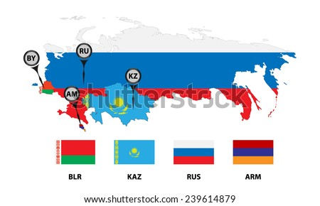 Vector. Template for info graphic. Schematic map the member states of the Eurasian Economic Union (EAU). Flags and abbreviations Russia, Belarus, Kazakhstan, Armenia. Marker for map. Isolated on white - stock vector