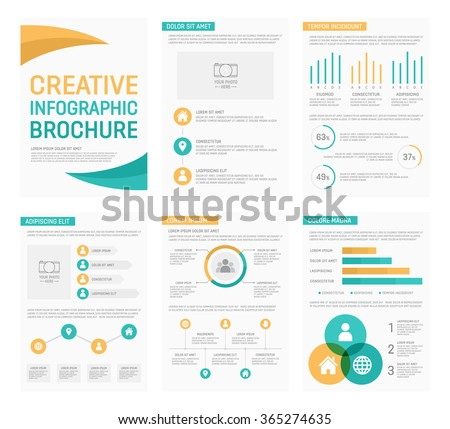 Vector template for multipurpose presentation slides with graphs and charts. Infographic elements, chart, graph, brochures - stock vector