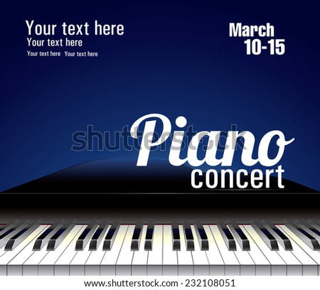 Vector template for piano concert with piano keyboard and notes. - stock vector