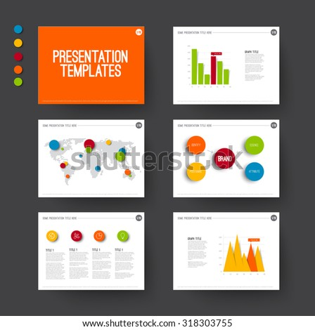 Vector Template for presentation slides with graphs and charts - fresh color version
