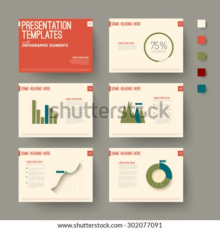 Vector Template for presentation slides with graphs and charts - retro color version - stock vector