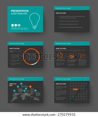 Vector Template for presentation slides with graphs and charts - teal and red version - stock vector
