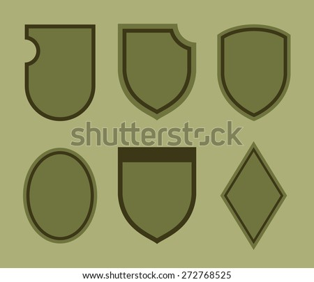 Vector template for ranges of mark, chevrones, military insignia, coat of arms. Different shapes of frames for labels, police departments, patches of military divisions. - stock vector