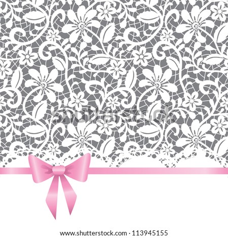 Vector template for wedding, invitation or greeting card with lace background and pink ribbon - stock vector