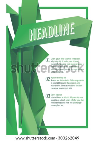 vector template for you design with green polygonal background for brochure, poster, flyer - stock vector