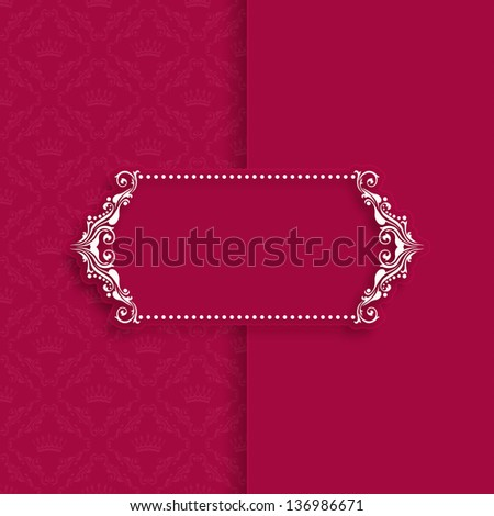 Vector template frame design for greeting card, banner, invitation, menu, cover. In vintage style. EPS 10. - stock vector