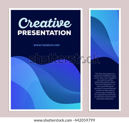 Vector template illustration of blue colorful abstract composition with text on black background, two vertical formats. Creative presentation concept. Flat art design modern style for web, poster - stock vector