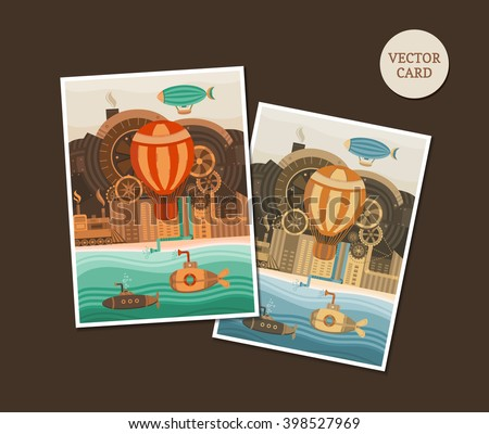 Vector template in the steampunk style. Vector background for invitation cards, banners, covers, postcards, flyers, letters, posters. Vintage template for text. Retro style. Flat illustration. - stock vector