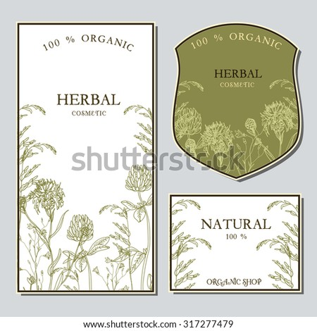 Vector template label with hand-draw wild flowers and herbs. Layout, mockup design for cosmetics, store, label, natural and organic products
