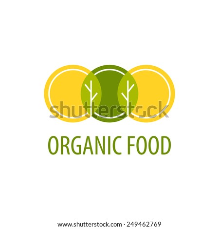 Vector template logo. Organic Food. Image of three circles that resemble plates, at their intersection trees and leaves. Shades of yellow and green. - stock vector