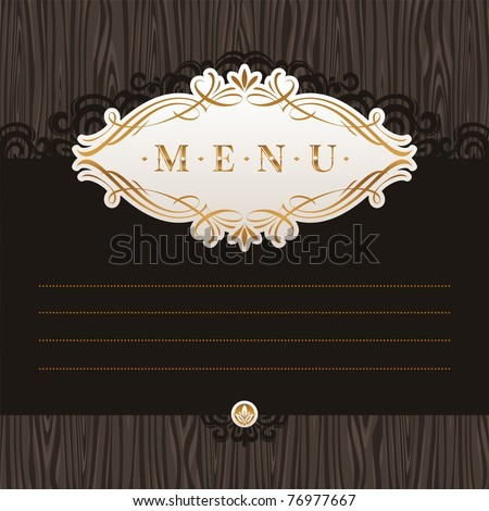 Vector template menu with calligraphic frame on wooden texture - stock vector