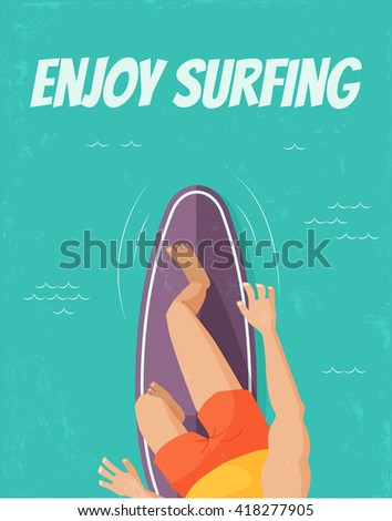 vector template of a poster, upper view of a surfer standing on a surfboard - stock vector