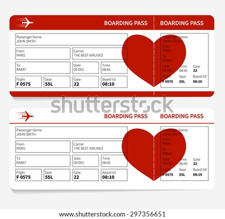 Vector template of airline boarding pass tickets with heart - stock vector
