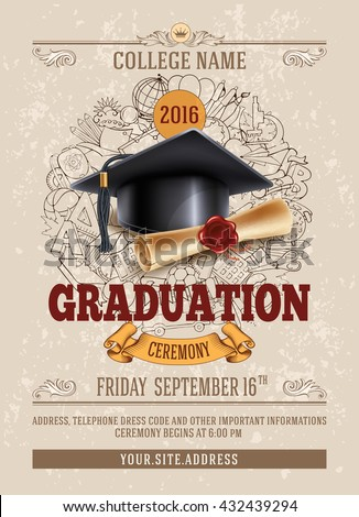 Vector template announcement invitation graduation ceremony stock vector template of announcement or invitation to graduation ceremony or party with unusual realistic image of filmwisefo Images
