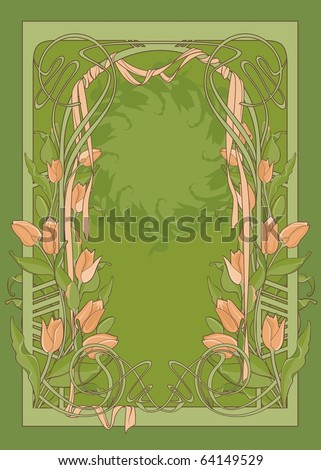 Vector template of art deco poster with tulips and ribbon. - stock vector