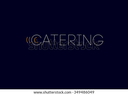 Vector template of catering company logo. Catering, outdoor events and restaurant service insignia, food icons.  - stock vector