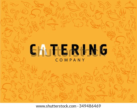 Vector template of catering company logo isolated on yellow background. Logo design collection. Catering, outdoor events and restaurant service insignia, food icon. Hand drawn cupcake, chair, sausage. - stock vector