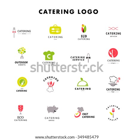Vector template of catering company logo. Logo design collection. Catering, outdoor events and restaurant service insignia, food icons.  - stock vector