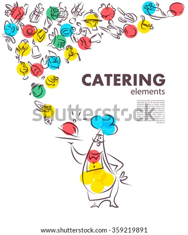 Vector template of catering company logo. Restaurant food element collection. Catering, outdoor events, restaurant service insignia, food icon. Hand drawn cupcake, sausage, photo, hat, coffee element. - stock vector