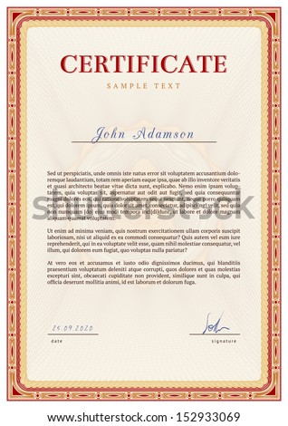 Vector template of detailed certificate with guilloche elements using - stock vector