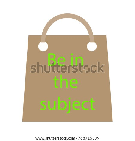 Vector template of eco bag in kraft paper color.Inscription, be in the subject. Isolated on white background
