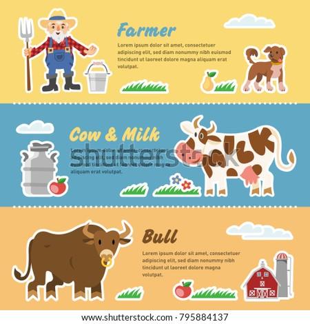 Vector Template Funny Milk Farm Farmer Stock Vector 795884137 ...