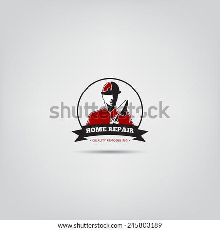Vector template of home repair of corporate service badge. Logo template for your desing.  - stock vector