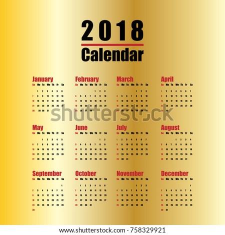 Vector Template 2018 New Year Calendar Stock Vector Hd Royalty Free