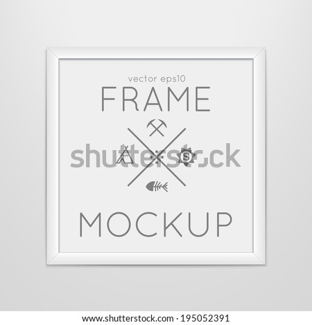 Vector template of square frame with poster, placed in interior. Mockup for your posters or photos. Light style. - stock vector