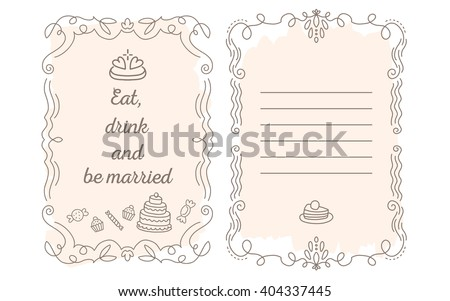 Vector template of wedding greetings with lace frame with inscription and sweets of peach color on white background. Line art design to make a poster, greeting card, postcard, paper print